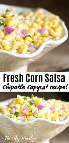 If you love corn, you will want to give the BEST Corn Salsa recipe a try. This Copycat Chipotle Corn Salsa Recipe is made with only 6 simple ingredien. Mexican Food Recipes, Vegetarian Recipes, Cooking Recipes, Healthy Recipes, Recipes With Corn, Pureed Recipes, Sweet Corn Recipes, Top Recipes, Spicy Recipes