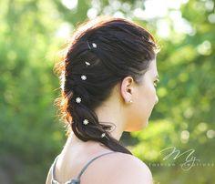 Floral Rhinestone Hair Picks Bridal Hair by myfashioncreations Boho Hairstyles, Wedding Hairstyles, Bohemian Wedding Hair, Bridal Hair Pins, Flower Crowns, Silver Hair, Bridesmaid Hair, Handmade Flowers, Headpiece