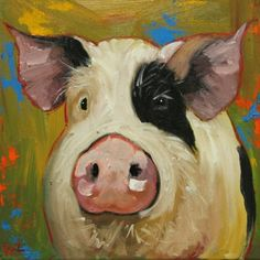 Pig painting 65 inch original oil painting by Roz Pig Art, Barnyard Animals, Farm Art, Animal Paintings, Wood Paintings, Collage, Pictures To Paint, Cool Art, Art Projects
