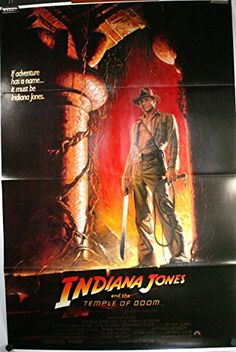 INDIANA JONES & THE TEMPLE OF DOOM Original tri-fold Wolfe Border style Movie Poster @ niftywarehouse.com #NiftyWarehouse #IndianaJones #GeorgeLucas #HarrisonFord #Movies