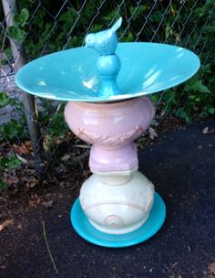 Birdbath from recycled materials  By Susan Scovil, Portland, OR baubleville@yahoo.com