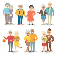 Old happy family, pensioner family by coffeee-in on @creativemarket