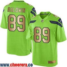 Men's Seattle Seahawks #89 Doug Baldwin Green 2016 Color Rush Gold Stitched NFL Nike Limited Jersey