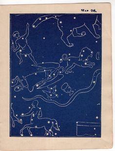 1903 CONSTELLATION FIGURES map antique original lithograph - miniature star chart no. 26 by antiqueprintstore on Etsy