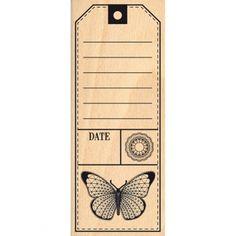 Tampon bois Tag papillon - 60 x 150 mm - Photo Album Vintage, Vintage Scrapbook, Vintage Tags, Vintage Labels, Vintage Paper, Album Journal, Bullet Journal Books, Scrapbook Journal, Journal Cards