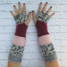 Thankful Rose - Upcycled Sweaters - Upcycled Clothing - Wrist Warmers - Long Recycled Sweater Arm Warmers - Long Fingerless Gloves - Boho by ThankfulRose on Etsy