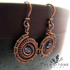 Copper Woven Wire Ammonite Earrings with Amethyst Swarovski Crystal