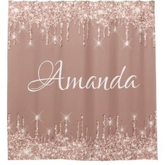 Name Sparkly Glitter Drips Pink Rose Girly Blush Shower Curtain | Zazzle.com