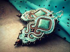Soutache earrings - Mint & Chocolate -  na želanie :) - 2944676