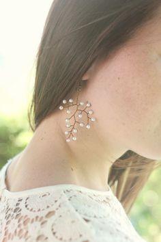 Bronze pearl earrings woodland wedding leaf earrings by Elibre, €20.00