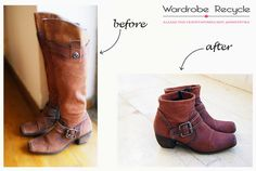 Turning my old boots to booties! Old Boots, Refashion, Diy Clothes, Riding Boots, Upcycle, Booty, Creative Ideas, Turning, Diys