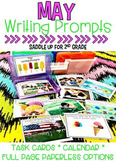 This set of 28 May themed writing prompts. These spring and summer themed writing prompts come in a task card, calendar and full page version. Each card has a kid friendly writing prompt and a real life photo to match. Graphic organizers and writing paper are included. These are the perfect addition to your writing center.