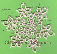 Tatting Rosette with a single shuttle Needle Tatting Patterns, Irish Crochet Patterns, Thread Crochet, Knit Crochet, Mad Tatter, Tree Tat, Tatting Tutorial, Tatting Lace, Lace Making