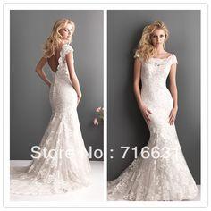 elegant scoop neckline short sleeve open back floor length strapless appliqued lace mermaid wedding bridal dress. First mermaid dress i've ever loved