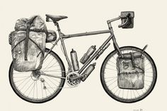 """rollersinstinct: """" Illustrations which accompany Pannier's look at different approaches to cycle touring: classic, expedition, ultralight and bikepacking. Touring Bicycles, Touring Bike, Bicycle Print, Bicycle Design, Bushcraft, Run And Ride, Bike Tattoos, Bike Illustration, Bike Parking"""