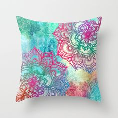 Round & Round the Rainbow Throw Pillow by Micklyn | Society6