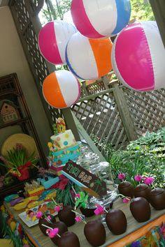 Pool party decor- use beach balls as decor!!