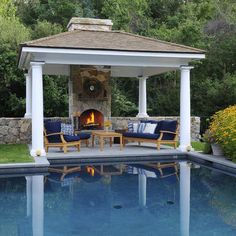A gazebo is a comfortable place to gather with your friends or family outside of your home. A gazebo may consist of pillars, roof, and furniture. You can attach your gazebo with your house or unattached. Backyard Cabana, Pool Gazebo, Pool Cabana, Garden Gazebo, Backyard Pergola, Outdoor Cabana, Outdoor Gazebos, Outdoor Rooms, Outdoor Living