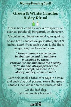 """Money, Money, come to me"". Chant this simple spell to bring money and prosperity to your life. A great Wiccan ritual prayer that works like a charm! Jar Spells, Luck Spells, Candle Spells, Candle Magic, Powerful Money Spells, Money Spells That Work, Spells That Really Work, Hoodoo Spells, Magick Spells"