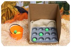 Muffin Tin Tic-Tac-Toe You'll need a box, a muffin tin, and some small, golf ball-sized balls. Cut off one entire side of the box so that th. Fall Carnival Games, Fall Games, Kids Carnival, School Carnival, Halloween Carnival, Theme Halloween, Carnival Birthday, Carnival Ideas, Halloween Games