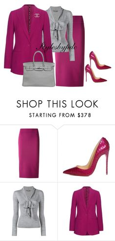 """Fuchsia and Grey Flawless ✒️"" by stylesbypdc ❤ liked on Polyvore featuring Scanlan Theodore, Christian Louboutin, Alexander McQueen, Etro, Chanel and Hermès"