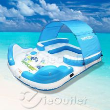54.50  Inflatable Floating Island 3 Person Raft River Lake Pool Party Tube w/ Backrest Brand New $40.99