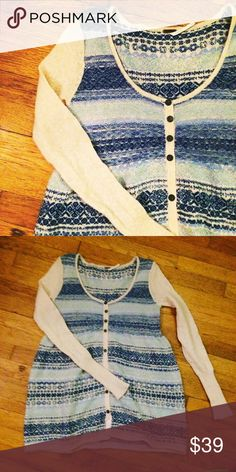 """Free People Fair Isle Sweater Gorgeous sweater from Free People! It's a fiber blend with Merino wool and Angora so it's super soft and cozy. No defects whatsoever. Longer length, 29"""". Size medium but sleeves run tight. I consider all offers ❤️ Free People Sweaters Cardigans"""