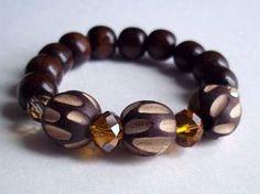 Brown wood orange and light amber rhinestones by sweetiebel, $17.00