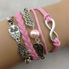 881f29d83fe Infinity Vintage Bracelet Owl Wing Bracelet Lucky 8 Bracelet Pink Wax Cord  Pink Braided Leather Antique Bronze Cute Personalized Jewelry Friendship  Gift