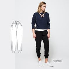 Long live the chic jogger pant. Sew the look with Vogue Patterns V8909 sewing pattern.