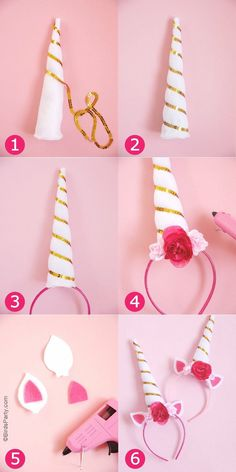 DIY Unicorn Party Headbands - learn to craft these easy accessories for birthday celebrations, Halloween costume or a party photo booth prop! by BirdsParty.com @birdsparty Diy Unicorn Headband, Headbands, Unicorn Party, Unicorn, Head Bands