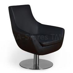Brett Lounge Chair in Black Leatherette by Aeon