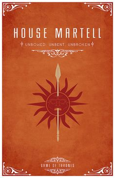 House Martell ~ Game of Thrones Minimalist Posters