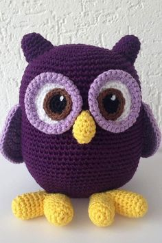 Trend Amigurumi Doll Patterns of March Purple owl. Easy ideas amigurumi for beginners here. Amigurumi free pattern animals and amigurumi doll ideas you can find the best on our website. Crochet Animal Amigurumi, Amigurumi Doll, Crochet Animals, Crochet Dolls, Yarn Dolls, Owl Crochet Patterns, Owl Patterns, Amigurumi Patterns, Pattern Ideas