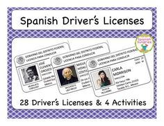Spanish age, numbers, adjective practice with mock driver's licenses Spanish Teacher, Spanish Classroom, Teaching Spanish, Spanish Activities, Teaching Activities, Teaching Resources, Spanish Lessons, English Lessons, Welcome Letters