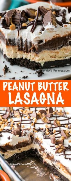 Chocolate Peanut Butter Lasagna This is the best peanut butter dessert I've ever had! Peanut Butter Lasagna is a light and rich no bake dish with layers of chocolate, fluffy peanut butter and whipped topping all nestled on top of an Oreo cookie crust. No Bake Desserts, Easy Desserts, Delicious Desserts, Yummy Food, Healthy Food, Healthy Eating, Layered Desserts, Light Desserts, Healthy Drinks