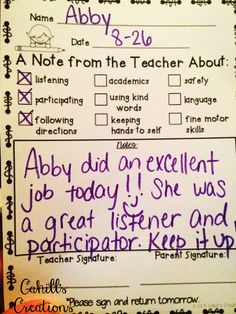 Amy was tired of spending all of her energy on the negative behaviors in her classroom. That's when she decided to change her own behaviors. New approach for next school year Communication Avec Les Parents, Parent Teacher Communication, Parent Notes, Classroom Behavior Management, Behaviour Management, Discipline In The Classroom, Classroom Expectations, Student Behavior, Future Classroom