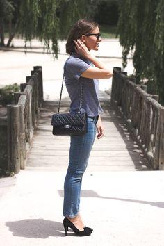 Trini  |  Ray-Ban wayfarer sunglasses, American Apparel t-shirt, Gap jeans, Robert Clergerie heels and Chanel bag.