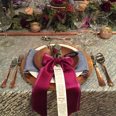 Berry, dusty blue and copper place setting, wedding, menu, bow, gold