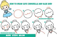 How to Draw Cute Chibi / Kawaii Cinderella & Blue Bird Easy Step by Step Drawing Tutorial for Kids & Beginners