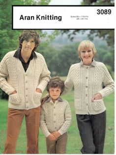 1980's VINTAGE Family Aran Cable Cardigans in V Neck by Hobohooks, £1.20