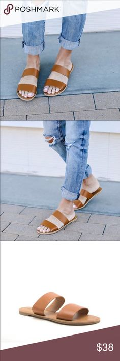 4b397f7e56a NWB Cognac Two Band Athena Slide Sandals Absolutely lovely shoe