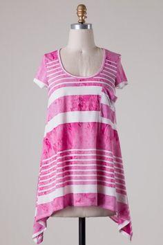 Short sleeve asymmetrical stripe knit top