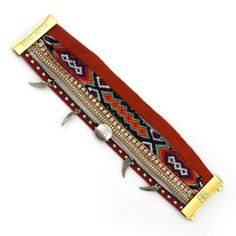 'Ajak' Magnetic cuff bracelet entwined with multiple strands of leather and beading