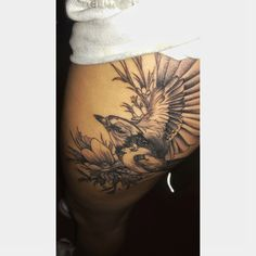 #thigh #tattoo #bird #freedom #onewingopen #incertitude #flowers #independent