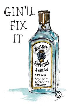 Gin'll fix it card by sarah majury by WhiteHartCo on Etsy