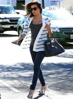 Eva Longoria - Stripes and Denim