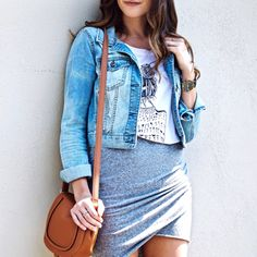 Girl Meets Gold X Shop Betches. Casual Skirt and Denim Jacket Outfit