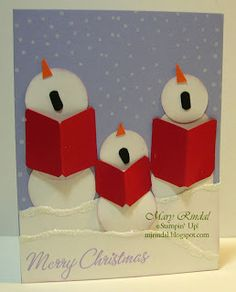 "By Mary Rindal. So cute! Used punches: 1 3/8"" circle, 1 1/4"" circle, & 1"" circle. She snipped the noses & books with scissors."