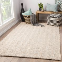 Juniper Home Terre White/Beige Jute Wool Handmade Chevron Area Rug x X Size x Wool Area Rugs, Beige Area Rugs, Jute, Chevron Area Rugs, Neutral, Small Entryways, Entryway Rug, Rectangular Rugs, Rustic White
